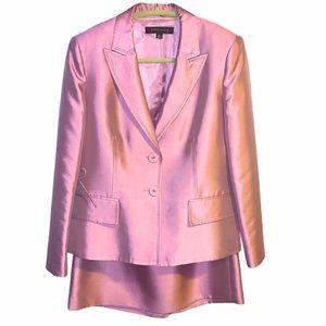 Anne Klein Lavender Side Lace Up Jacket Skirt Suit